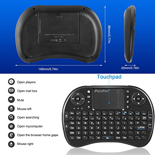Ipazzport Mini Teclado Inalámbrico 2.4GHz USB (Disposición en Español) con ratón touchpad Mini Keyboard Ergonómico (Negro): Amazon.es: Electrónica
