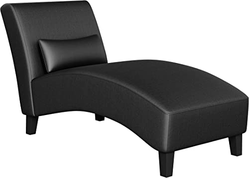 Handy Living Cara Chaise in Black Renu