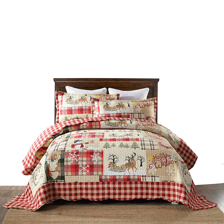 MarCielo 3 Piece Christmas Quilt Set, Rustic Lodge Deer Quilt Bedspread Throw Blanket Lightweight Bedspread Coverlet Comforter Set BY010 (King)