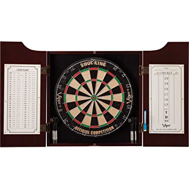 Viper Hudson All-in-One Dart Center: Classic Solid Wood Cabinet & Official Sisal/Bristle Dartboard Bundle with Steel-Tip Dart Set, Dry Erase Scoreboard & Out-Chart, Mahogany Finish