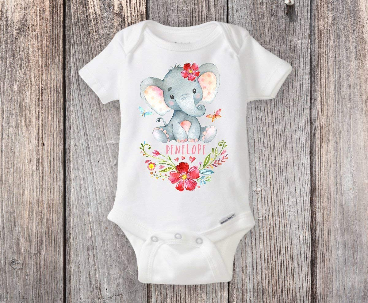Personalized Elephant Onesie® Custom Elephant Themed Baby Shower Gift