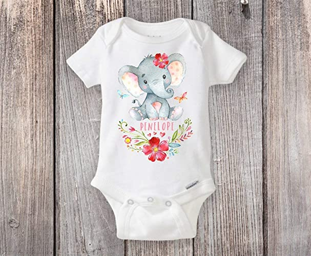 21b3c0ddb Amazon.com  Personalized Elephant Onesie® Custom Elephant Themed ...