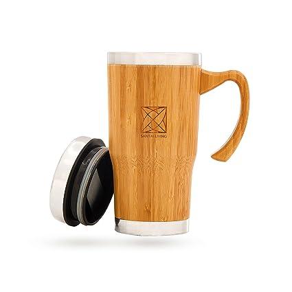Tazza de Bambú Térmica Grande con Mango | Riutilizzabile Tazza de Café/Te (450ml