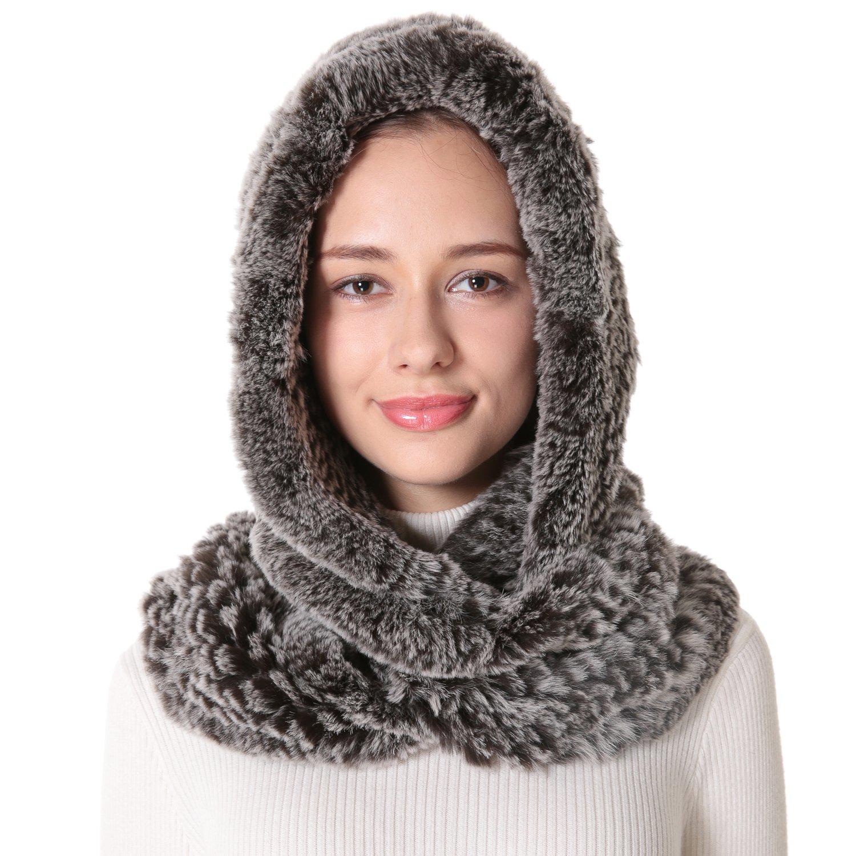 Women's Rex Rabbit Fur Infinity Scarf With Hat Brown Snow Top.