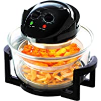 Daewoo Deluxe 12L 1300W Halogen Air Fryer with 60min Timer with Self-Cleaning Function, Adjustable Temperature Control and 7 Accessories Included - Black
