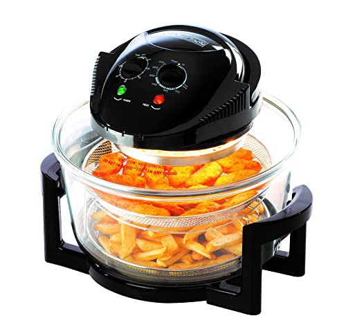Daewoo Deluxe 1.7L 1300W Halogen Air Fryer with 60min Timer with Self-Cleaning Function, Adjustable Temperature Control and 7 Accessories Included - Black