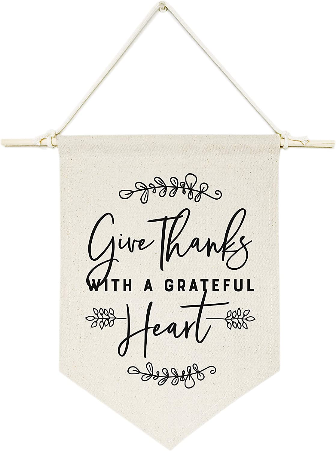 The Cotton & Canvas Co. Give Thanks with a Grateful Heart Hanging Wall Canvas Banner, Thanksgiving, Autumn and Fall Decor