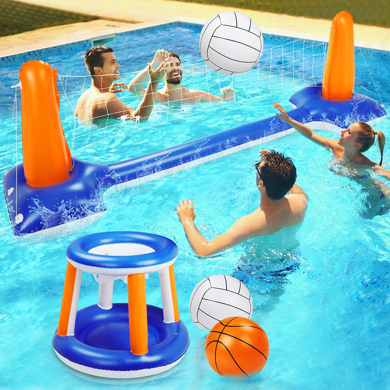 "Pool Volleyball Set, 115"" Inflatable Pool Float Set Include Basketball Hoop Set & Balls Floating Swimming Pool Toy Pool Volleyball Game for Kids and Adults (115"" x 38"" x 28""): Sports & Outdoors"