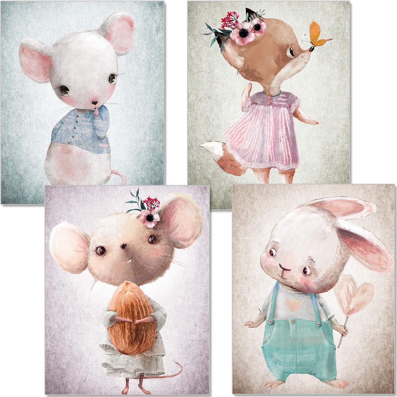 artpin® Juego de 4 imágenes para habitación de niños – A4 Póster habitación de bebé – Ratón zorro conejo colores pastel decoración niña niño P56