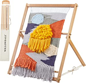 "WILLOWDALE 25.2""H x 19.3""W Weaving Loom with Stand Wooden Multi-Craft Weaving Loom Arts & Crafts, Extra-Large Frame, Weaving Frame Loom for Beginner, Ideal Christmas Holiday Gift Present"