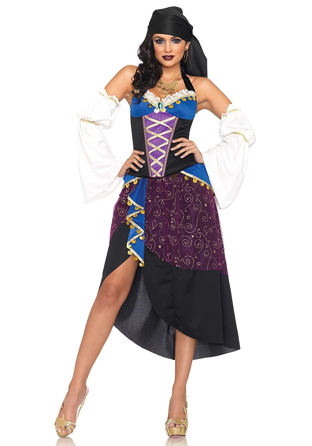 Life Is Good Leg Avenue Ladies 5 Piece Tared Card Gypsy Costume Outfit Size 1012