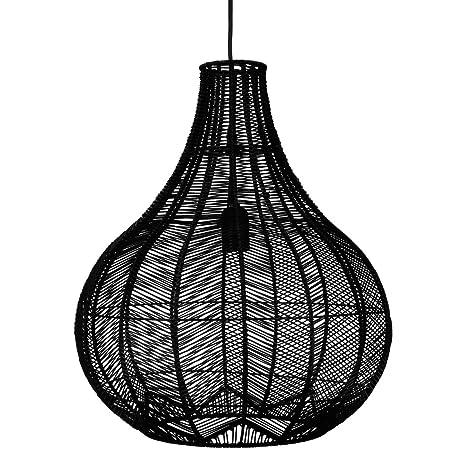 Lámpara de techo de MIMBRE - Diámetro 38 cm - Color: NEGRO ...