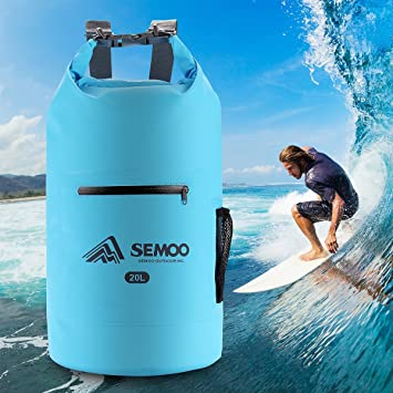 Semoo Bolsa estanca Impermeable 20 litros, para Deportes y Playa (Kayak, Pesca, Rafting, Buceo, Camping, esquí, Escalada, Senderismo) con Correa para ...