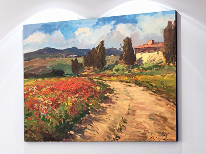 Tuscan Chianti Country Wall Art Tuscany Italy Artwork Landscape Canvas  Prints Poppies Trees Cypress House Filed
