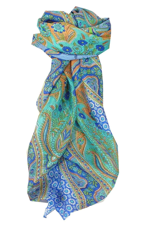 Square Traditional Silk Scarf Uttara Blue by Pashmina & Silk