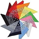 Kurtzy Bandane in Cotone Paisley Fantasia Sciarpa - Vari disegni Bandane per Sciarpe testa e collo Fancy Dress plus more - 12 pezzi di grandi sciarpe in cotone Uomini, donne e bambini