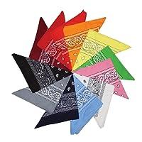 Kurtzy 12er Pack von Verschiedenen Paisley Bandana Schals Kopftücher Multifunktionstuch Bandanas für Kopftuch und Halstuch, Haustiere, Haar und Taschen Zubehör, Verkleidung und vieles mehr - G