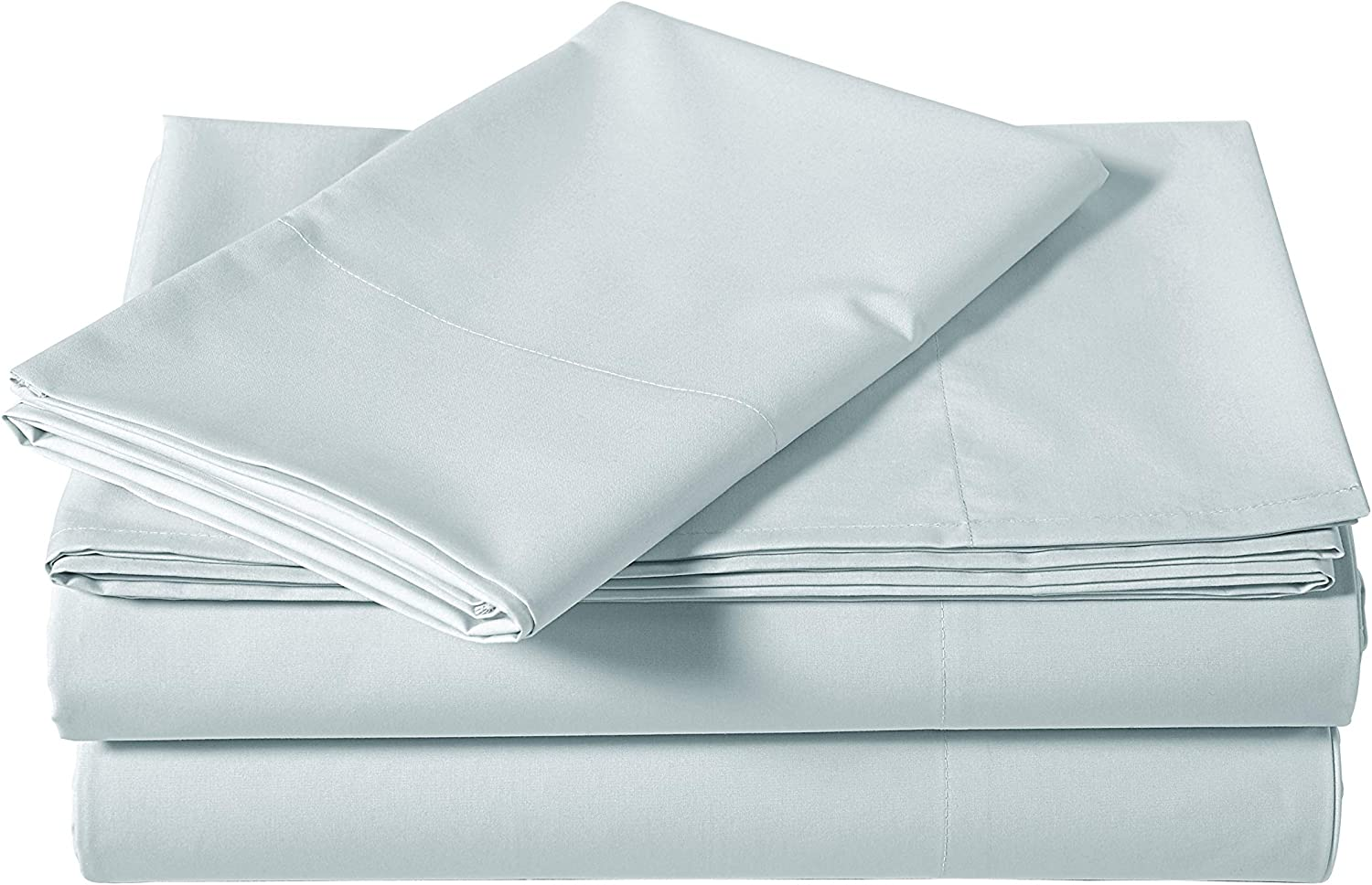 AmazonBasics Super-Soft Sateen 400 Thread Count Cotton Sheet Set - Twin XL, Cloud Blue