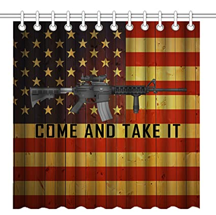 Wknoon 72 X Inch Shower Curtain Cool Ar 15 Gun Come And Take