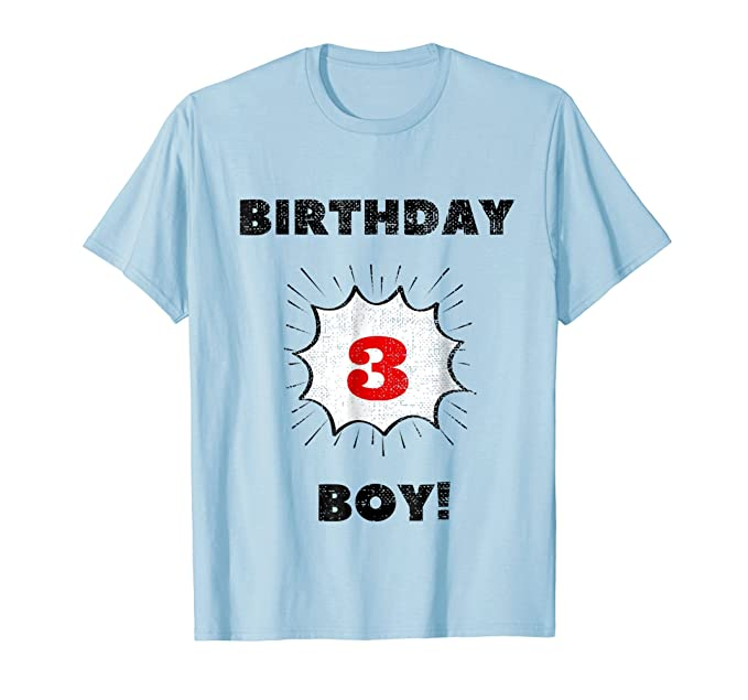 Mens Kids Birthday Boy Three Year Old T Shirt 2XL Baby Blue