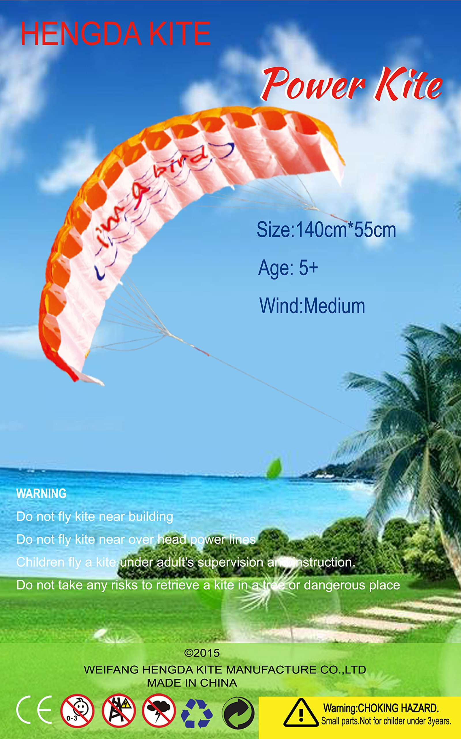 Hengda Kite NEW 1.4m Power Kite Outdoor FUN Toys Parafoil Parachute Dual Line Surfing ORANGE by Hengda kite (Image #7)