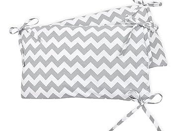 Baby-Nest mit separatem Au/ßenbezug Bett-Umrandung f/ür Baby-Bett 120 x 60 cm KraftKids Nestchen Chevron grau