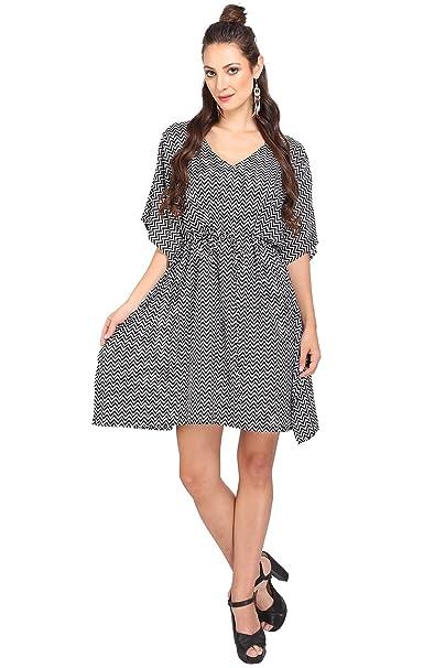 c1acd0d4de Miss Lavish London Tie Front Kaftan Tunic Kimono Style Dress Women Free  Size Black at Amazon Women s Clothing store