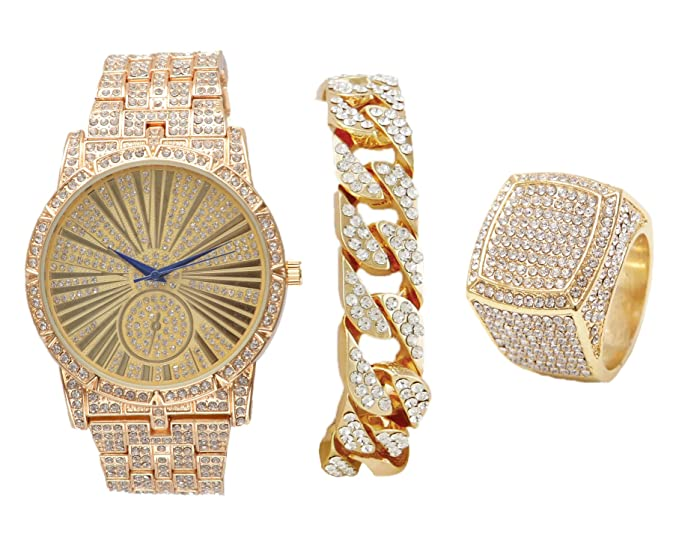 295b24004476 Bling on Blast Hip Hop Roman  - Reloj de Oro con Pulsera Cubana y Anillo  Brillante - L0503GCuban3Set  Charles Raymond  Amazon.es  Relojes
