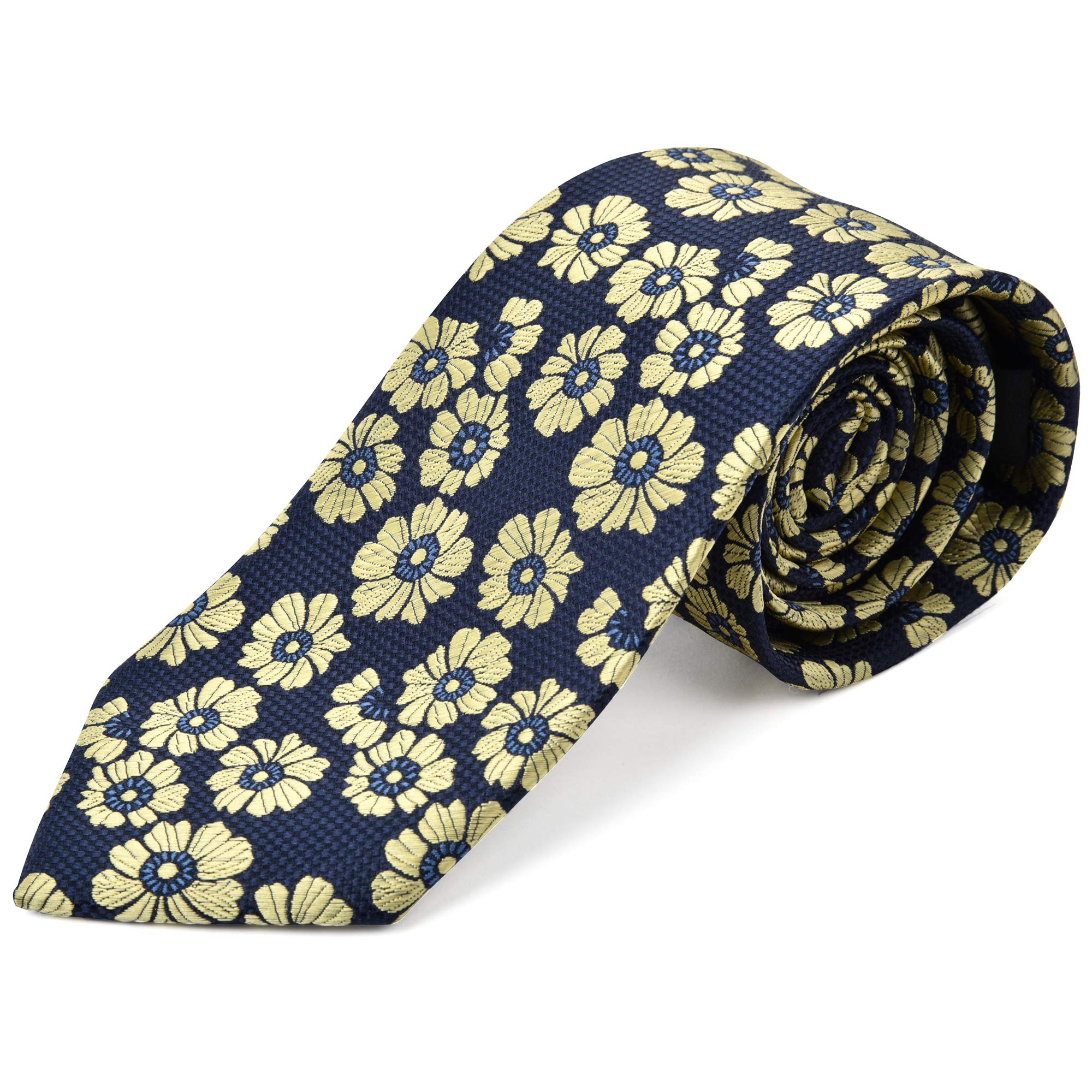 Ike Behar Boys 52'' Navy Blue And Yellow Floral Tie