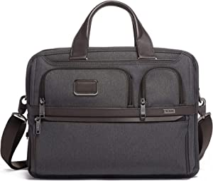 TUMI - Alpha 3 Expandable Organizer Laptop Brief Briefcase - 15 Inch Computer Bag for Men and Women - Anthracite