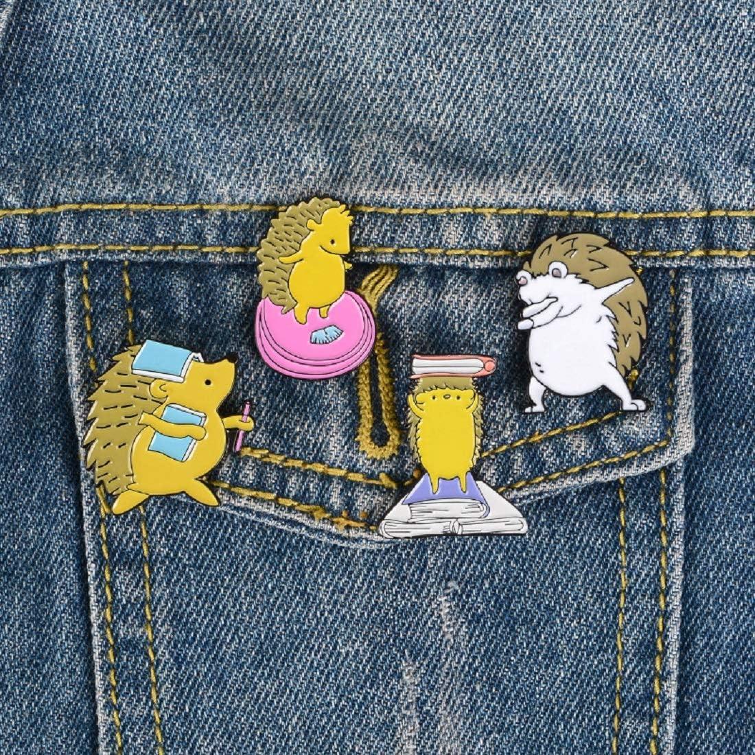 IIKENG Enamel Pins Brooch Cute Hedgehog Enamel Lapel Pin for Kids Cartoon Animal Enamel Pin Set for Backpack Cloths Hats Funny Badge Pins Jewelry Set