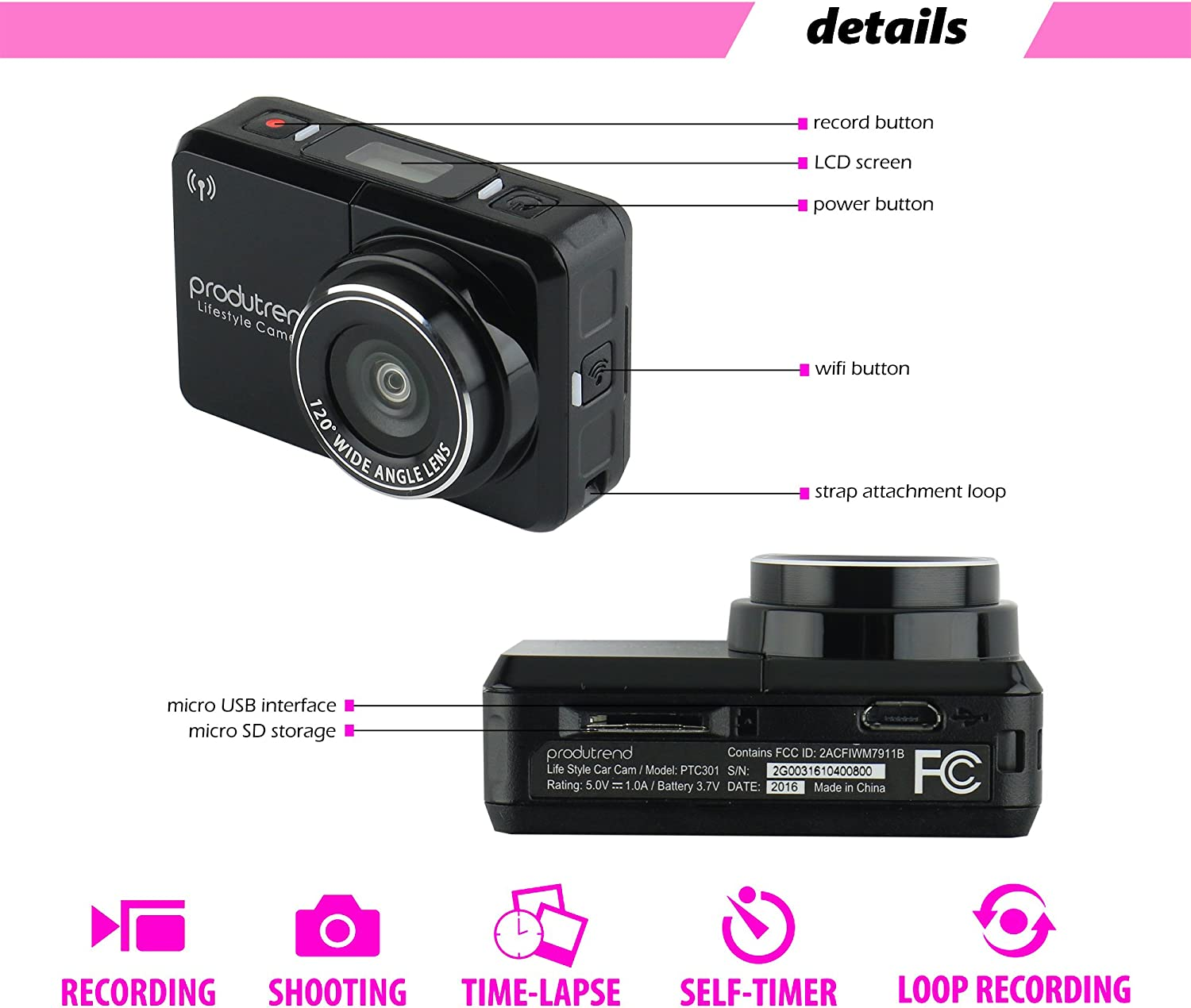 30 FPS Video Recorder Full HD 1080p Dash Cam 120/° Wide Angle Lens by ProduTrend PTC301 Nightvision 8 Megapixel Sensor WiFi Sports Action and Car Dashboard Camera