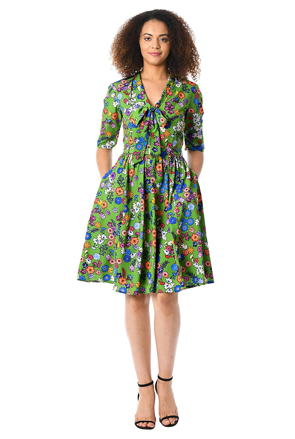 60s 70s Plus Size Dresses, Clothing, Costumes eShakti Womens Floral Print tie-Neck Crepe Dress $69.95 AT vintagedancer.com