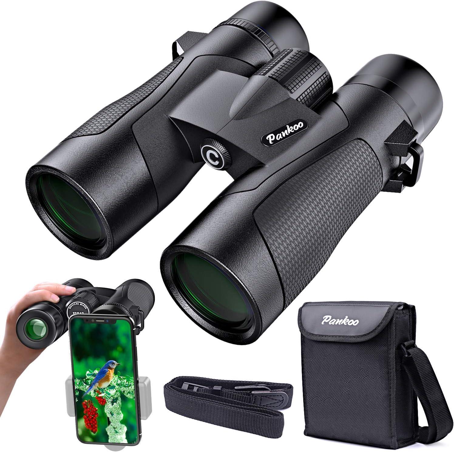 12x42 Binoculars for Adults-Pankoo HD Binocular for Bird Watching Travel Hiking Wildlife Hunting Concerts Theater-Waterproof Low Night Vision Lightweight-Compact-Binoculars-for-Adults
