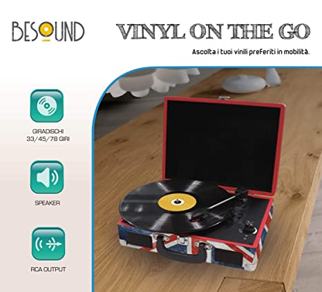 BeSound Vinylonthego Tocadiscos, 33,45,78 RPM, DC Motor, 3,5 mm, 2 ...