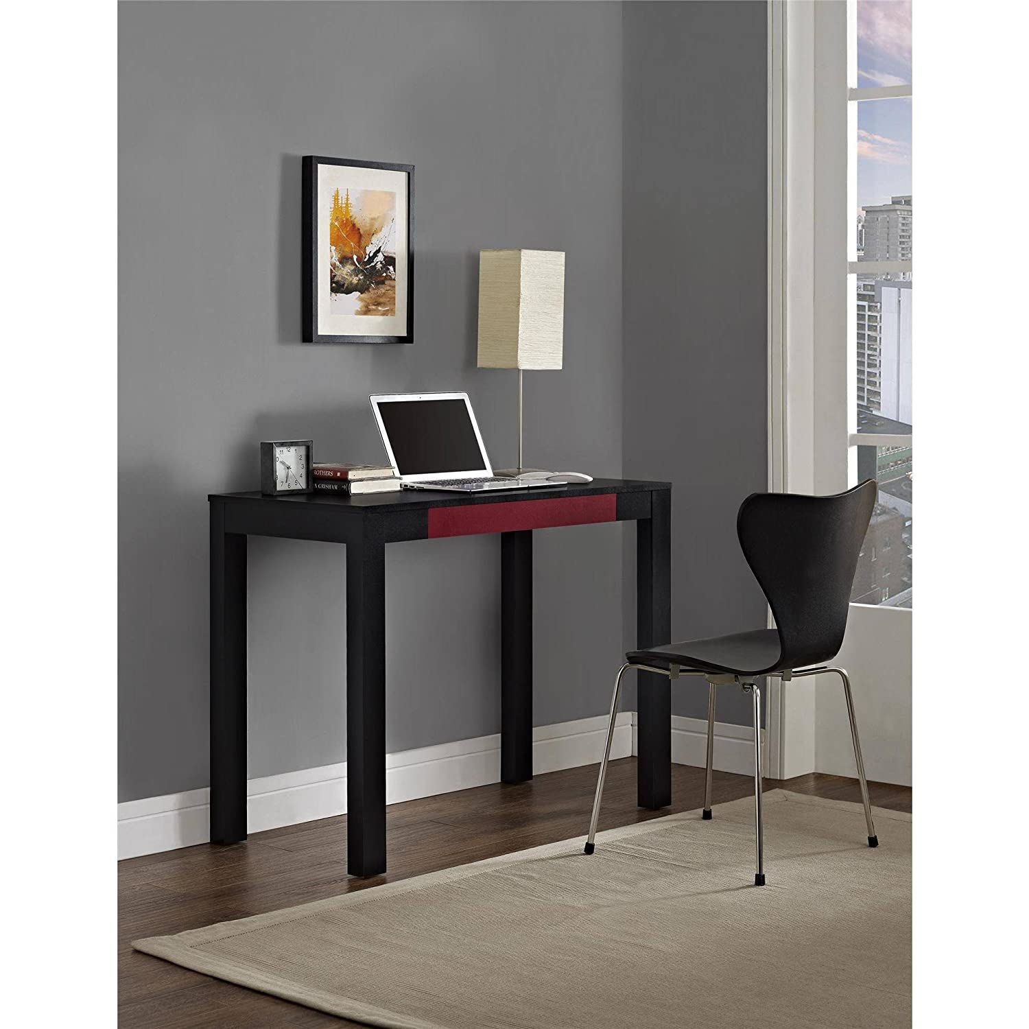 """Parsons Desk With Colored Drawer, Multiple Colors Parsons styling Large work surface Storage pencil drawer holds small office supplies Convenient size desk Product Dimensions: 19.69""""W x 38.98""""D x 30""""H"""