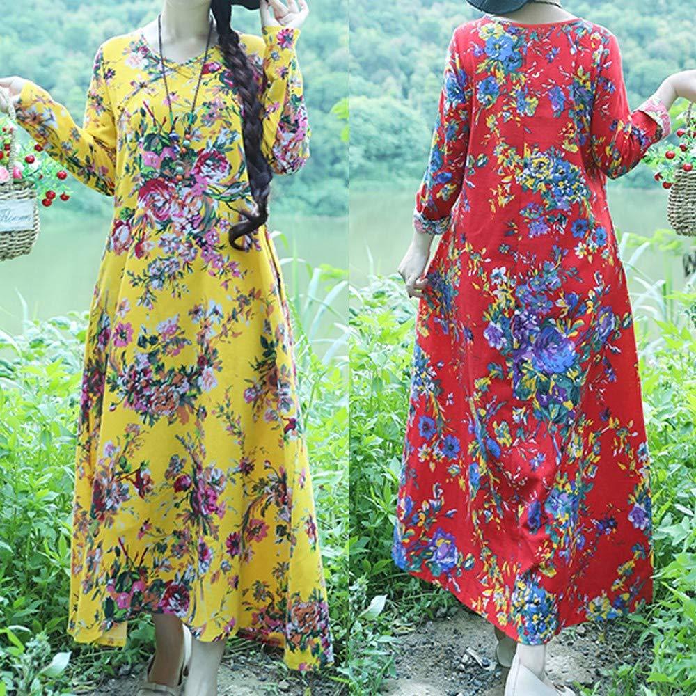 AMSKY Dress Pants for Men,Plus Size Womens Cotton and Linen Loose Long Sleeve Flower Print Long Dress,Work Dresses,Red,XL