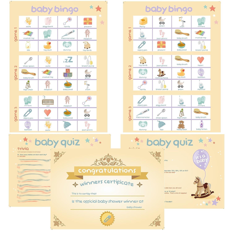 4 Baby Shower Games Bingo Charades Quiz Trivia Winners