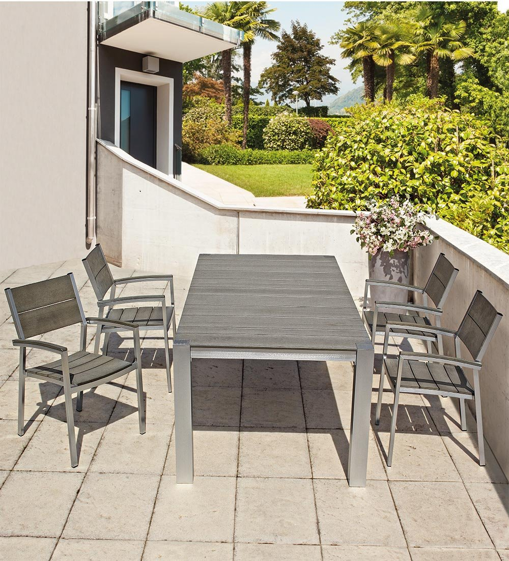 Oferta mesa 150 x 90 + 4 sillones Otis aluminio Bizzotto ...