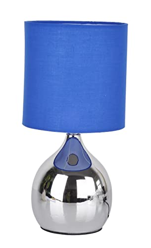 Modern Touch Lamp Lounge Bedside Table Lights Lamps Chrome Copper Finish  (Blue)