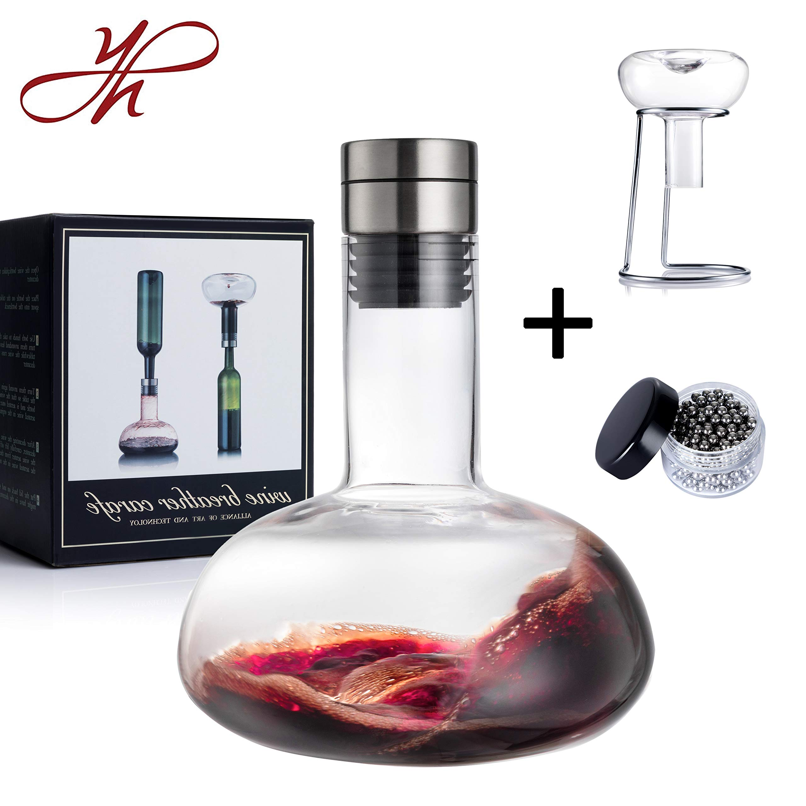 YouYah Wine Decanter Set,Wine Breather Carafe with Drying Stand,Steel Cleaning Beads and Aerator Lid,Crystal Glass,Wine Aerator,Wine Accessories,Wine Gift (New Packing)