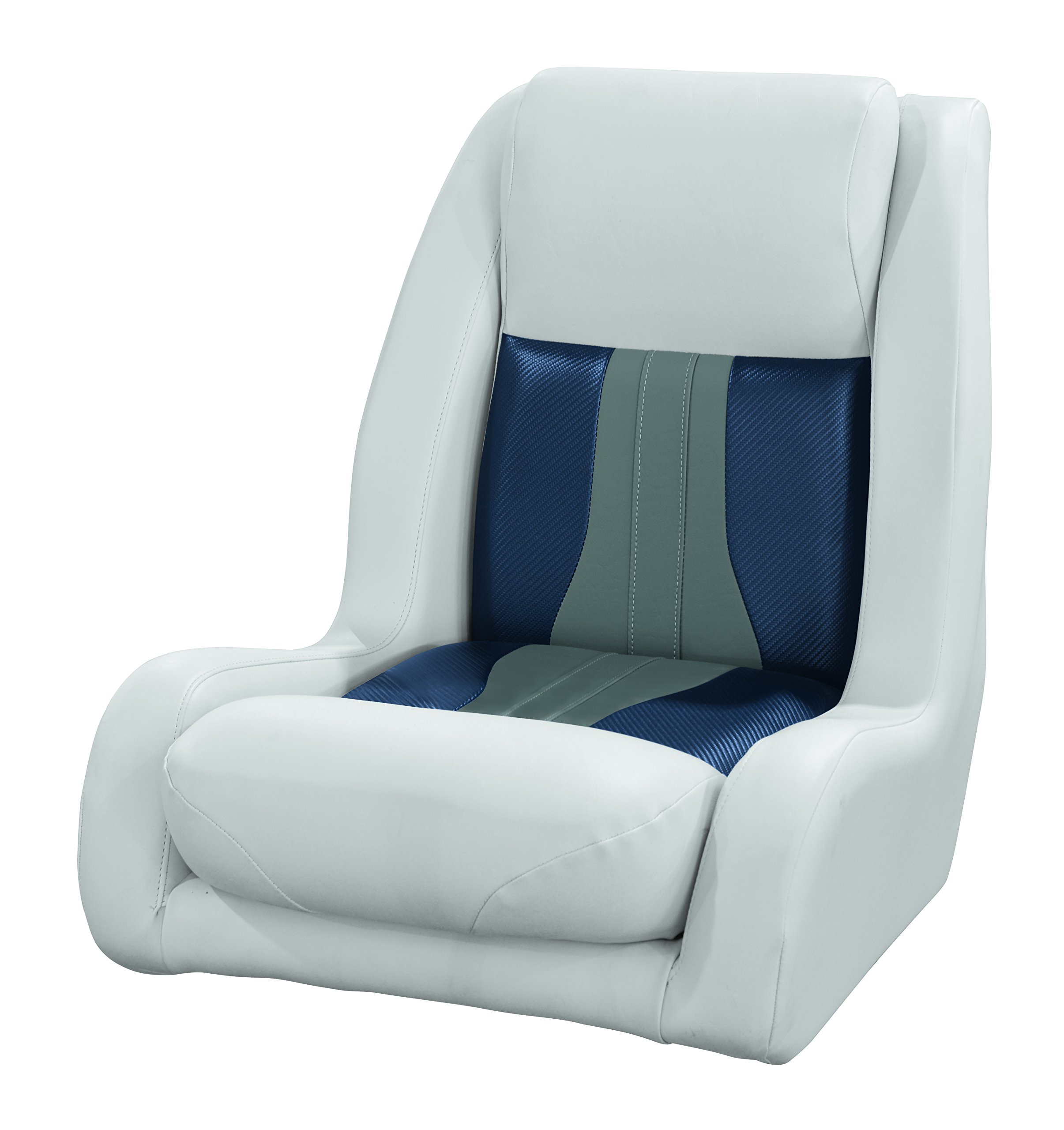 Wise 3013-1801 Talon Pontoon Series High Back Bucket Helm Seat, Sky Grey/Dove Grey/Laguna Blue Carbon Fiber by Wise