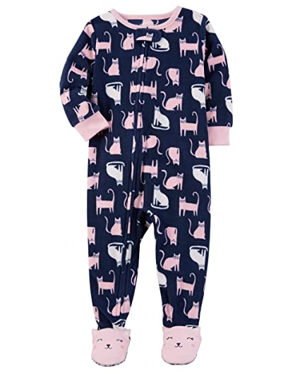 63e5ebebcf Amazon.com  Carter s Girls  2T-4T One Piece Cat Fleece PJS  Clothing