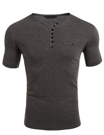 Wixens Herren T-Shirt Kurzarm Vausschnitt mit Knöpfe Sommer Casual Männer  Shirts  Amazon.de  Bekleidung 46693b4d0c