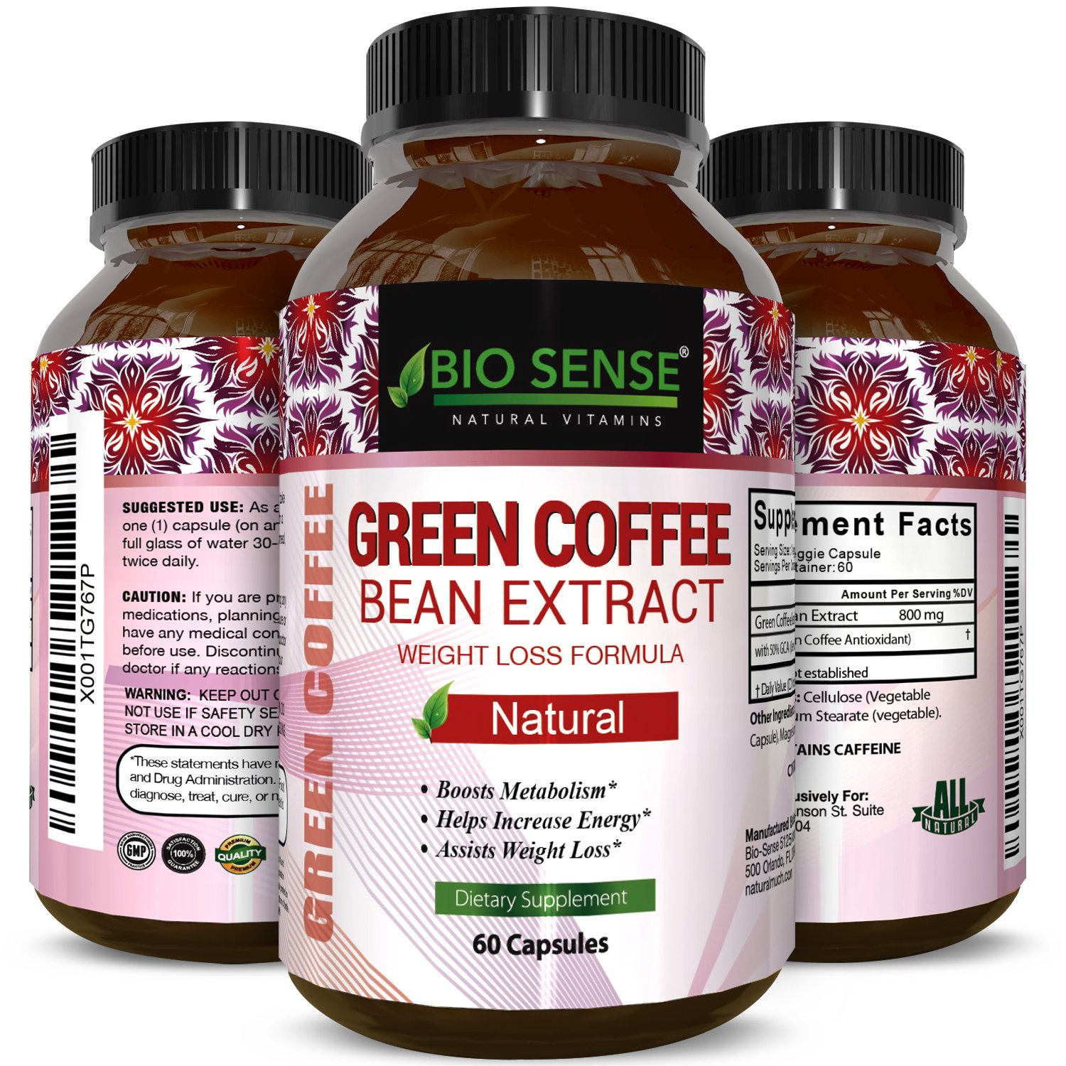 Pure Green Coffee Bean Extract for Weight Loss Pills - Dietary Supplement to Burn Fat Curb Appetite and Boost Metabolism for Men and Women - Contains Antioxidants to Detox and Cleanse - 800mg Capsules by Bio Sense