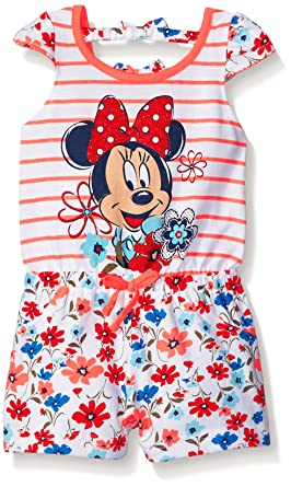 16819332bbd5 Amazon.com  Disney Girls Minnie Mouse Floral Romper  Clothing