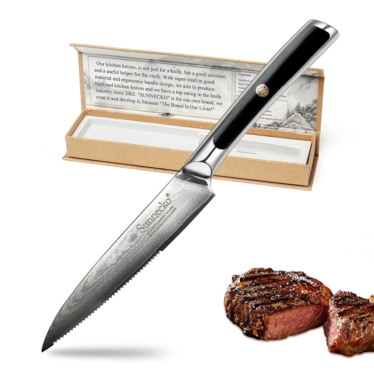 Chef Knife-5inch Damascus Kitchen Knife -Best Quality Japanese VG10 Super Steel 73 Layer High Carbon Stainless Steel Razor-Sharp Superb Edge Retention Steak Knives by SUNNECKO.