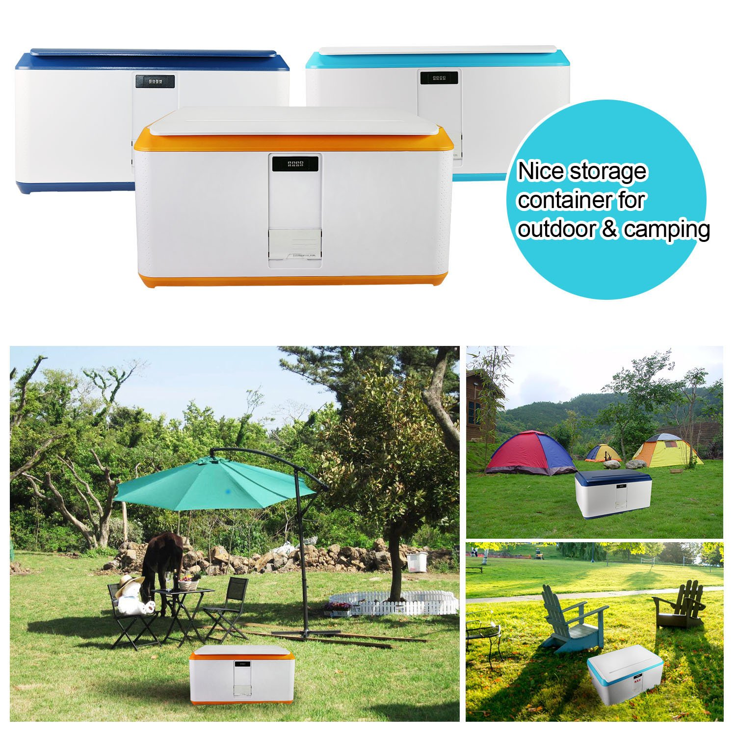 EVERTOP Extra Large Deck Box for Home, Office, Car, White with Code Lock (A-Green) by EVERTOP (Image #3)