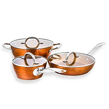 CONCORD 6 Piece Hammered Finish Copper Non Stick Cookware Set. Heirloom Collection