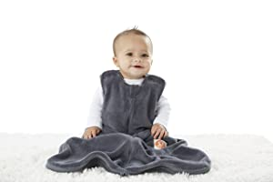 GUNAMUNA Gunapod Sleep Sack Unisex Fleece Wearable Blanket Baby Sleeping Bag, Charcoal Grey, 0-9 Months